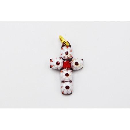 Croix émail fleurs rouges et blanches