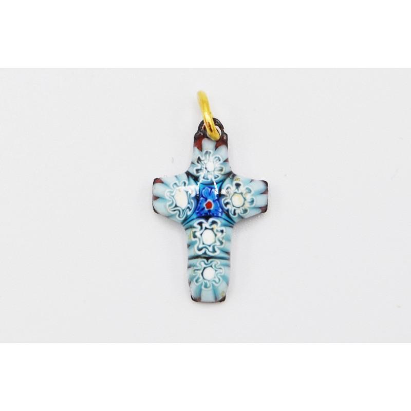 Croix émail fleurs bleus et blanches