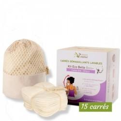 Carrés démaquillants lavables - coton bio