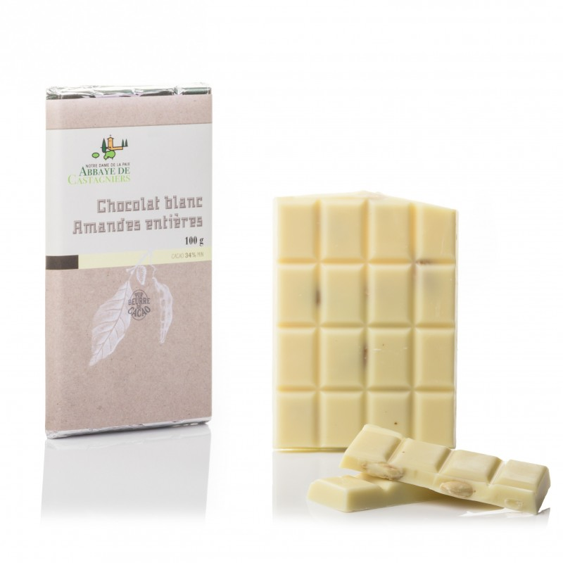 Tablette de chocolat blanc et amandes entières