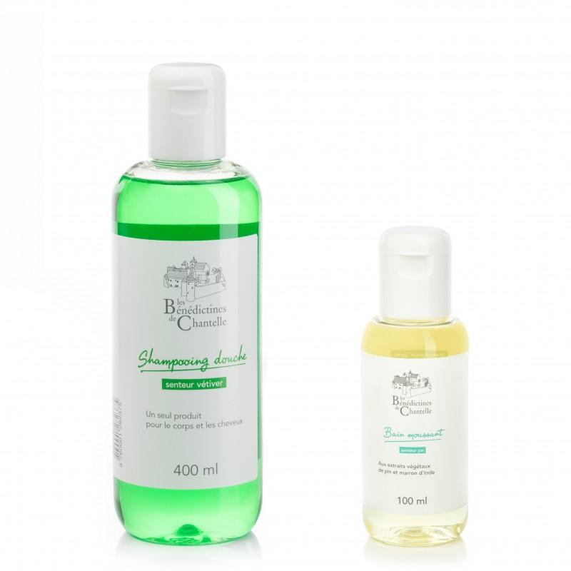 Vétiver pour homme et bain moussant au pin. Choisir sa fragrance et ses actifs sur mesure.